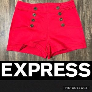 Express Red Nautical High Waisted Shorts
